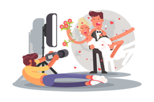 snimanje mladenaca na vencanju ilustracija